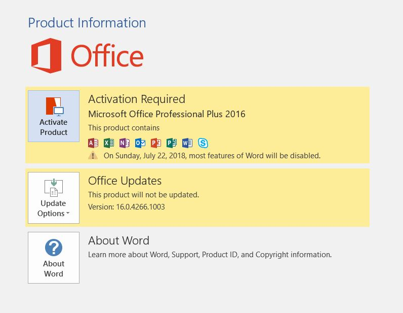 Office 2016 Activation Required