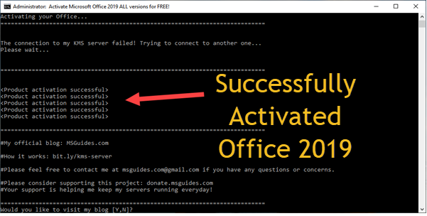 Successfully Activated Office 2019