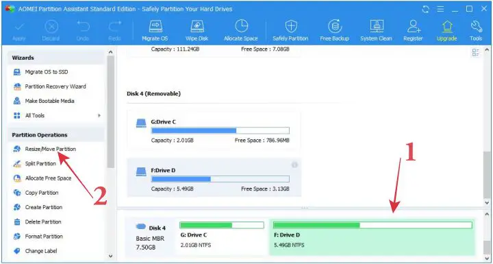 AOMEI Partition To Increase Drive C Size