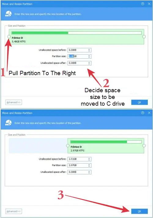 Increase Drive C Size Partition AOME