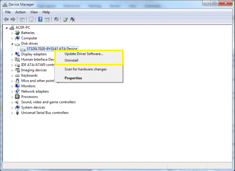 Select Update Driver or Uninstall Driver